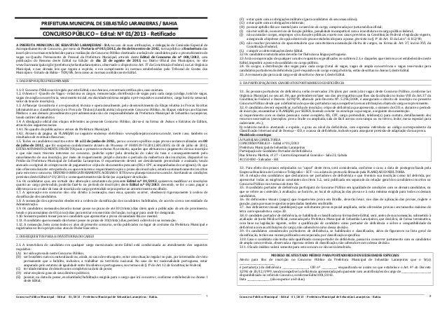 Concurso Público Municipal – Edital - 01/2013 – Prefeitura Municipal de Sebastião Laranjeiras – Bahia. 1 PREFEITURA MUNICI...