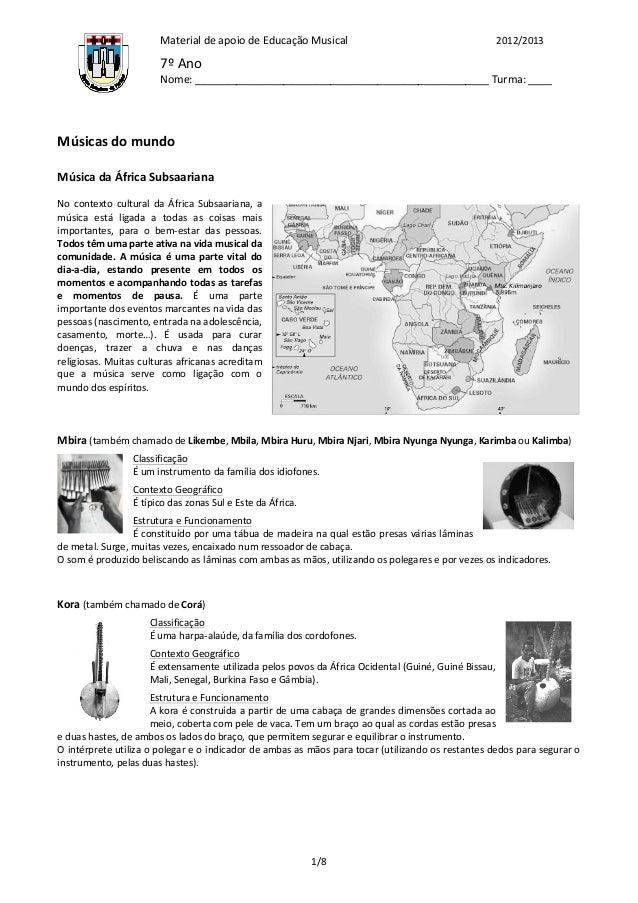 Material de apoio de Educação Musical                                                             2012/2013 ...