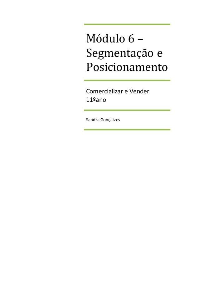 Módulo 6 – Segmentação e Posicionamento Comercializar e Vender 11ºano Sandra Gonçalves