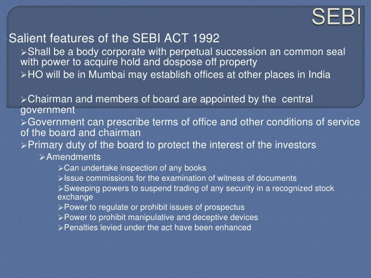 briefly explain the functions of sebi
