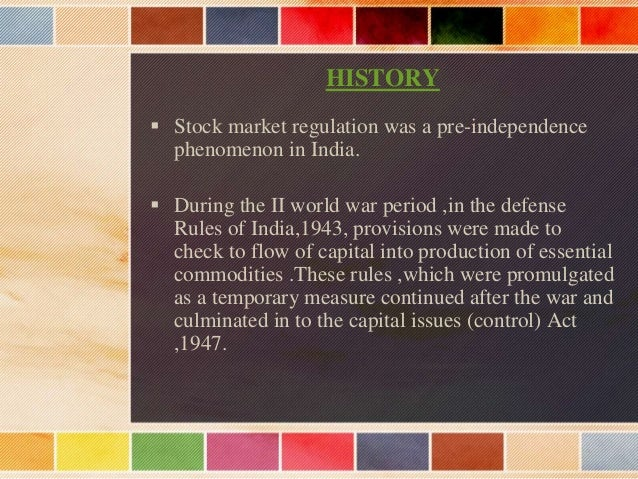 Overview Stock Markets  Stock Market is an organized public market set-up with a regulatory body and the members for the ...