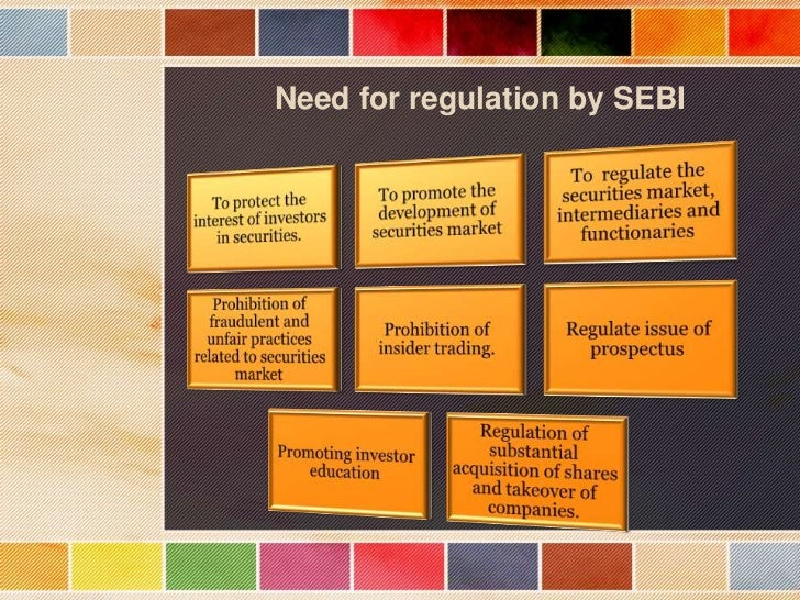 sebi as regularoty act Features and regulations of sebi (depository and participants) regulation act in september 1995, depositories ordinance was promulgated following the issue of ordinance, sebi sought views.