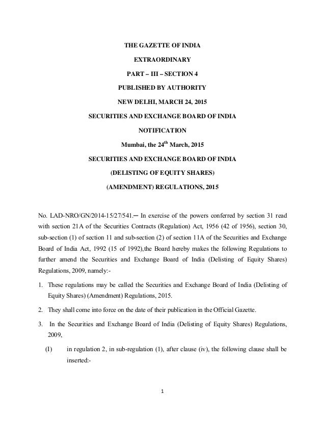 1    THE GAZETTE OF INDIA EXTRAORDINARY PART – III – SECTION 4 PUBLISHED BY AUTHORITY NEW DELHI, MARCH 24, 2015 SECURITIES...