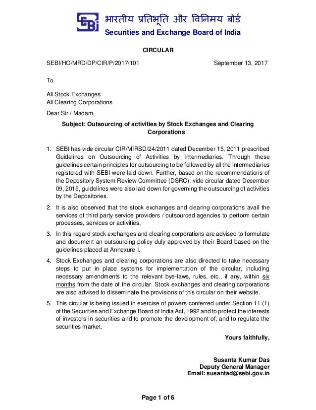 भारतीय प्रततभूतत और वितिमय बोर्ड Securities and Exchange Board of India Page 1 of 6 CIRCULAR SEBI/HO/MRD/DP/CIR/P/2017/101...