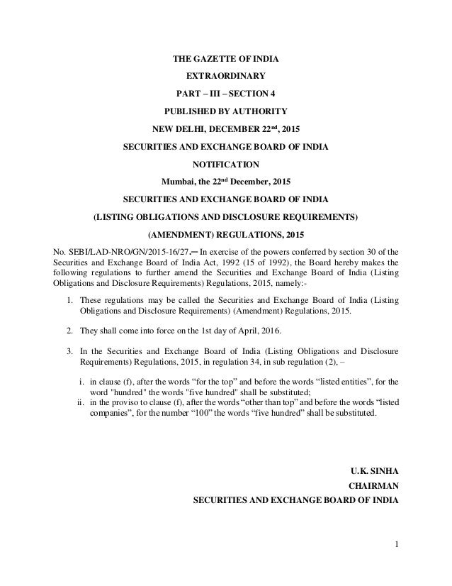 1 THE GAZETTE OF INDIA EXTRAORDINARY PART – III – SECTION 4 PUBLISHED BY AUTHORITY NEW DELHI, DECEMBER 22nd, 2015 SECURITI...