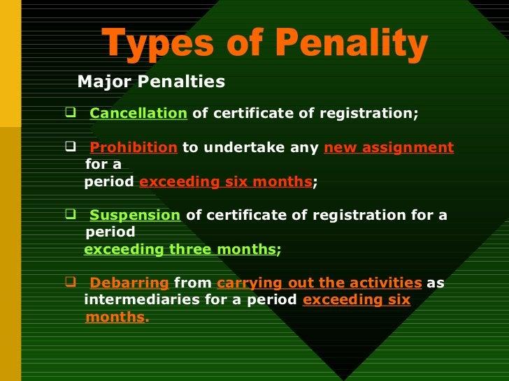 Types of Penality Major Penalties <ul><ul><li>Cancellation  of certificate of registration; </li></ul></ul><ul><ul><li>Pro...