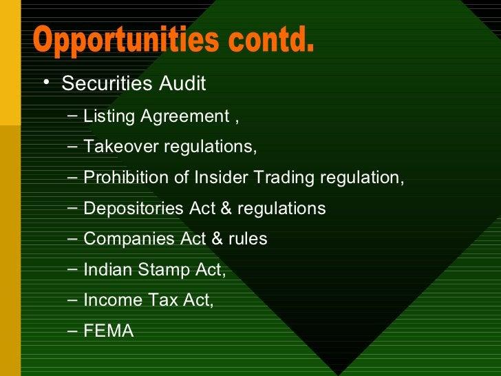 <ul><li>Securities Audit  </li></ul><ul><ul><li>Listing Agreement , </li></ul></ul><ul><ul><li>Takeover regulations, </li>...