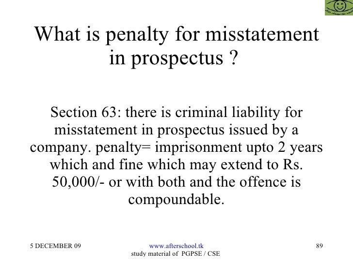 misstatement in prospectus