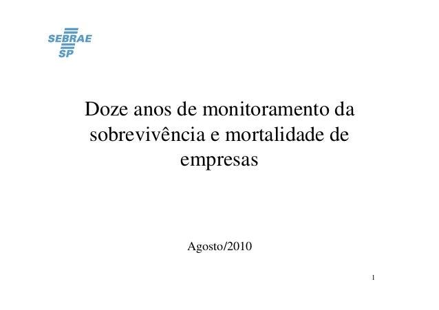 Doze anos de monitoramento da sobrevivência e mortalidade de empresas  Agosto/2010 1