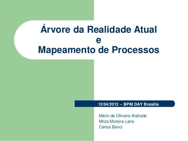 Árvore da Realidade Atual e Mapeamento de Processos 12/04/2012 – BPM DAY Brasília Mário de Oliveira Andrade Milza Moreira ...