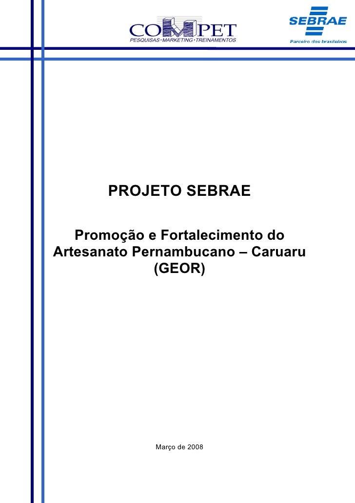 PROJETO SEBRAE     Promoção e Fortalecimento do Artesanato Pernambucano – Caruaru               (GEOR)                  Ma...