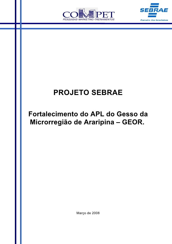 PROJETO SEBRAE  Fortalecimento do APL do Gesso da Microrregião de Araripina – GEOR.                  Março de 2008
