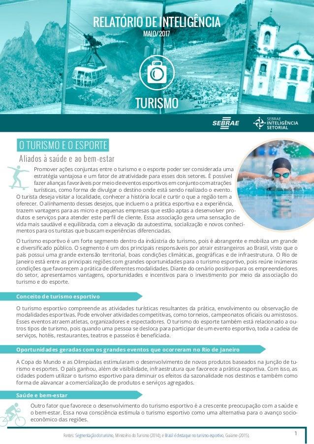 437006393 MAIO 2017 RELATÓRIO DE INTELIGÊNCIA TURISMO 1 O TURISMO E O ESPORTE Aliados  à saúde 22 CARACTERÍSTICAS DO TURISMO ESPORTIVO ...
