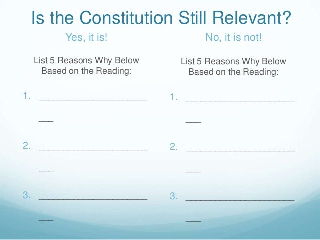 Is the Constitution Still Relevant? Yes, it is!  No, it is not!  List 5 Reasons Why Below Based on the Reading:  List 5 Re...