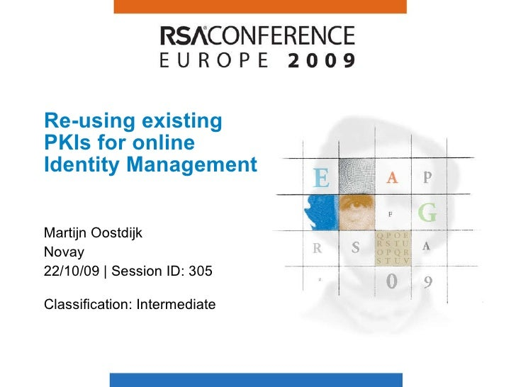 Re-using existing PKIs for online Identity Management Martijn Oostdijk Novay 22/10/09 | Session ID: 305 Classification: In...