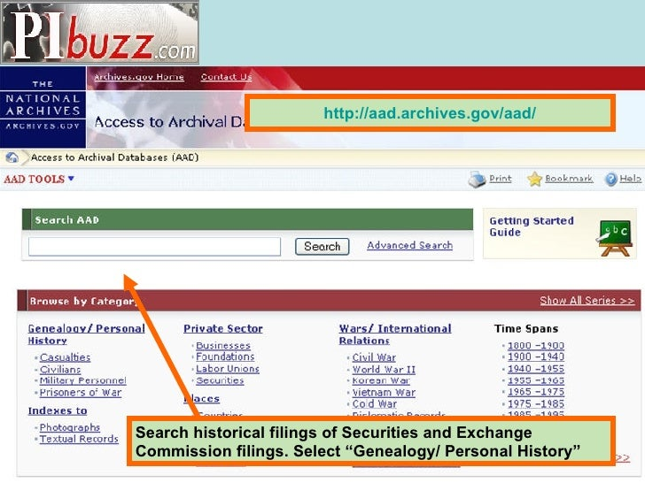 """Search historical filings of Securities and Exchange Commission filings. Select """"Genealogy/ Personal History"""" http:// aad...."""