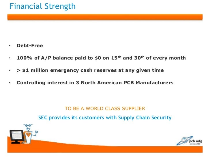 Financial Strength•   Debt-Free•   100% of A/P balance paid to $0 on 15th and 30th of every month•   > $1 million emergenc...