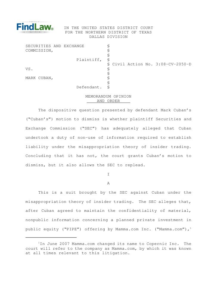 IN THE UNITED STATES DISTRICT COURT                 FOR THE NORTHERN DISTRICT OF TEXAS                           DALLAS DI...