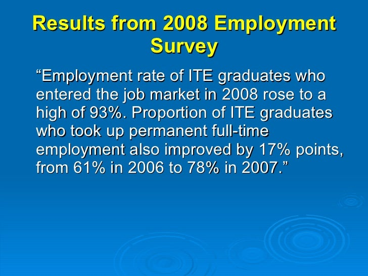 """Results from 2008 Employment Survey <ul><li>""""Employment rate of ITE graduates who entered the job market in 2008 rose to a..."""