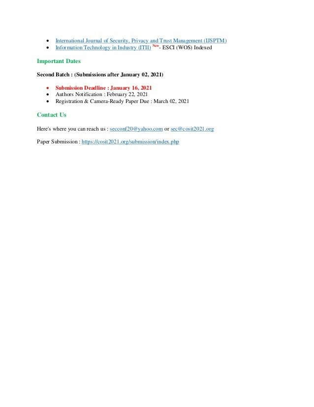 7th International Conference on Software Engineering (SEC 2021)    Slide 2