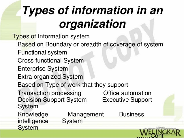 the characteristics of management information system in an organization Management information system i about the tutorial management information system management information system iii characteristics of mis information management pertaining to an organization's.