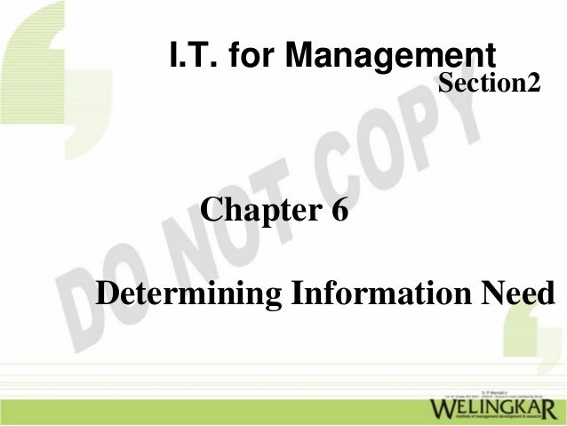 I.T. for Management                    Section2      Chapter 6Determining Information Need