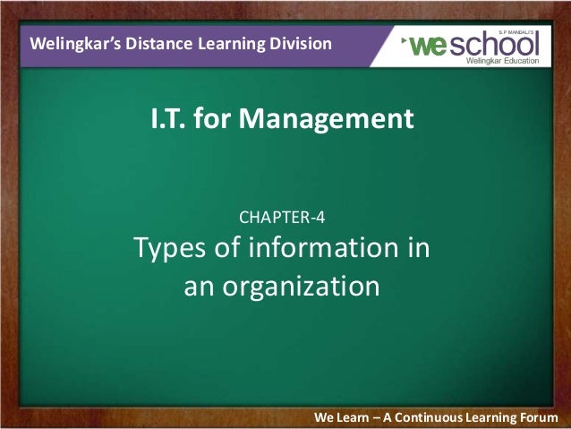 Welingkar's Distance Learning Division I.T. for Management CHAPTER-4 Types of information in an organization We Learn – A ...