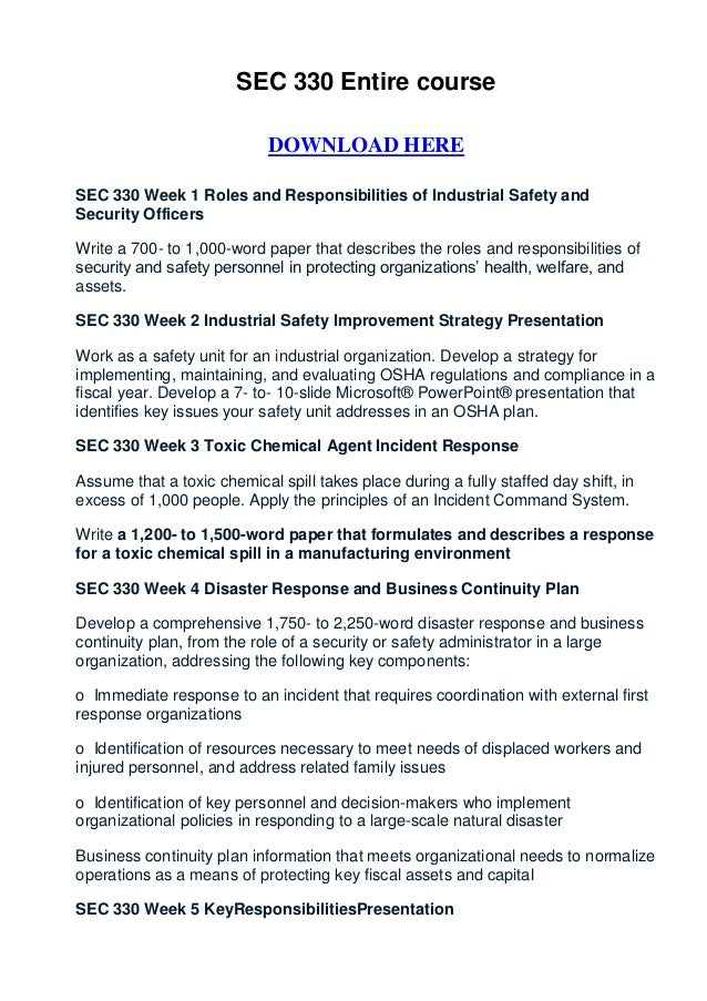 SEC 330 Entire course                            DOWNLOAD HERESEC 330 Week 1 Roles and Responsibilities of Industrial Safe...