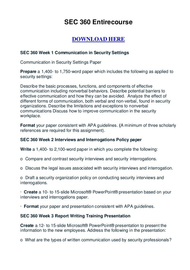 SEC 360 Entirecourse                           DOWNLOAD HERESEC 360 Week 1 Communication in Security SettingsCommunication...