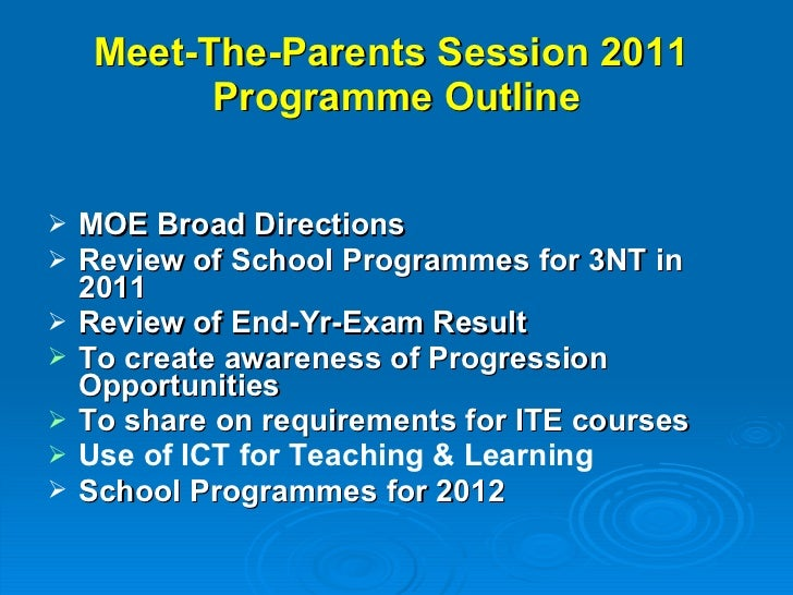 2011 Meet the Parents Session - 3NT (Year End) Slide 2