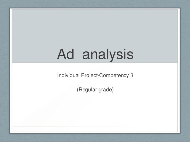 Ad analysis Individual Project-Competency 3 (Regular grade)