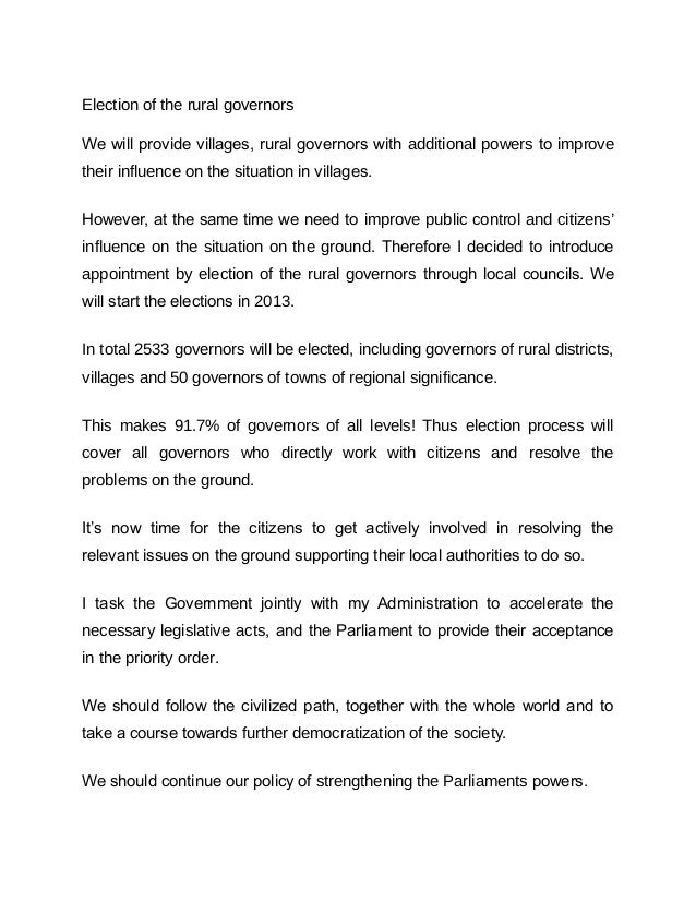 Election of the rural governorsWe will provide villages, rural governors with additional powers to improvetheir influence ...