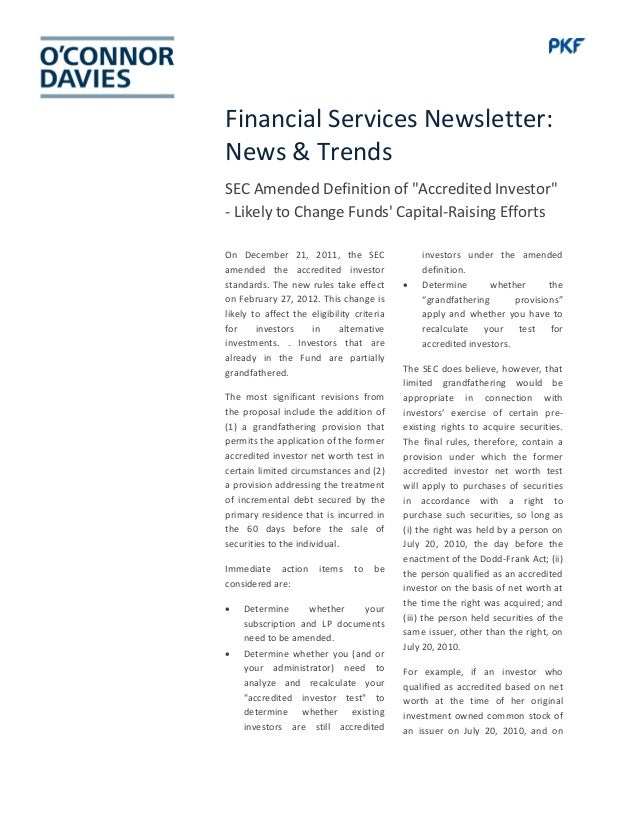 """Financial Services Newsletter: News & Trends SEC Amended Definition of """"Accredited Investor"""" - Likely to Change Funds' Cap..."""
