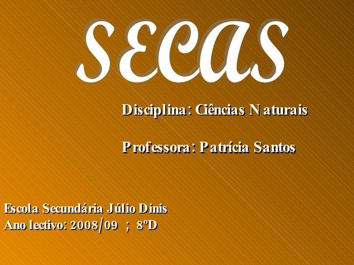 SECAS Disciplina: Ciências Naturais Professora: Patrícia Santos Escola Secundária Júlio Dinis Ano lectivo: 2008/09  ;  8ºD