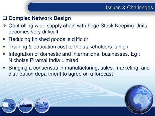 Issues & Challenges Complex Network Design Controlling wide supply chain with huge Stock Keeping Units  becomes very dif...