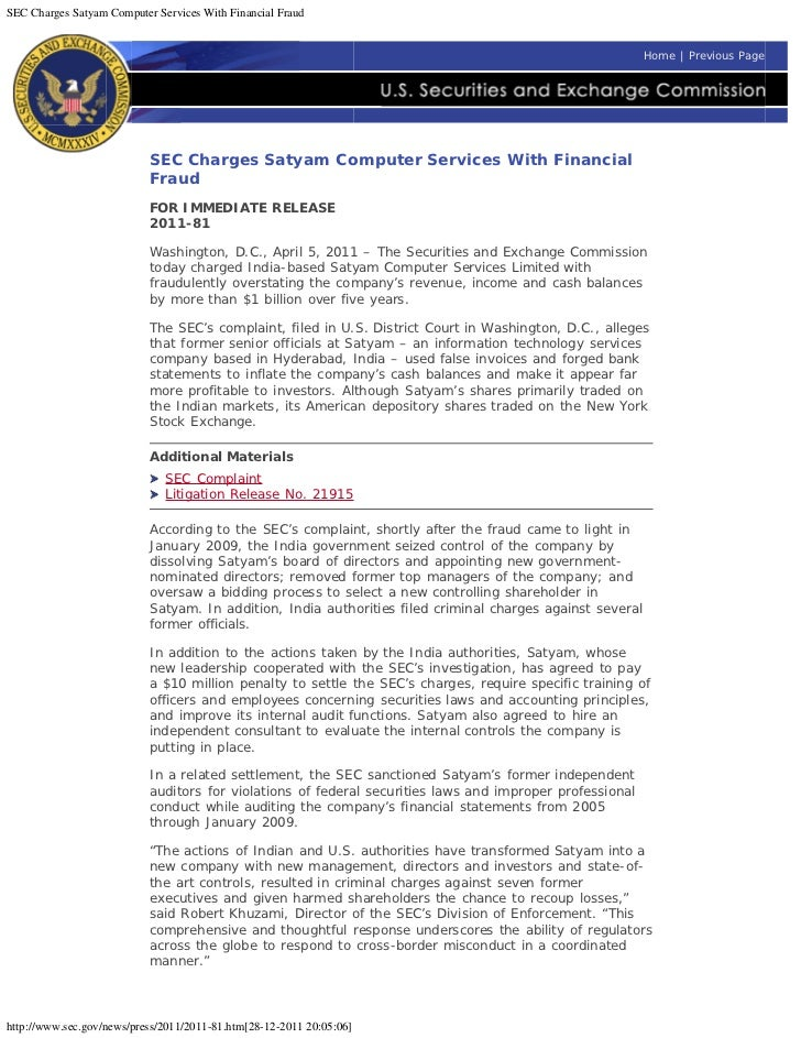 SEC Charges Satyam Computer Services With Financial Fraud                                                                 ...