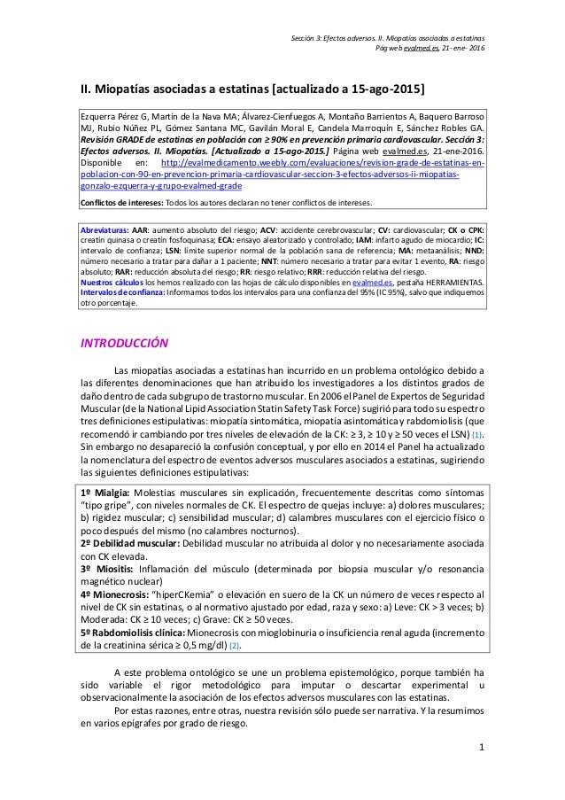 Sección 3: Efectos adversos. II. Miopatías asociadas a estatinas Pág web evalmed.es, 21- ene- 2016 1 II. Miopatías asociad...