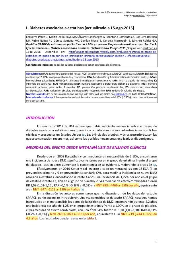 Sección 3: Efectos adversos. I. Diabetes asociadas a estatinas Pág web evalmed.es, 16-jul-2016 1 I. Diabetes asociadas a e...