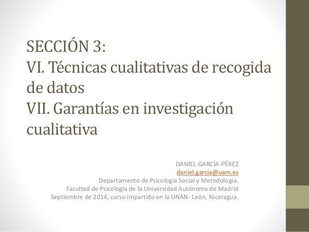 SECCIÓN 3:  VI. Técnicas cualitativas de recogida  de datos  VII. Garantías en investigación  cualitativa  DANIEL GARCÍA-P...