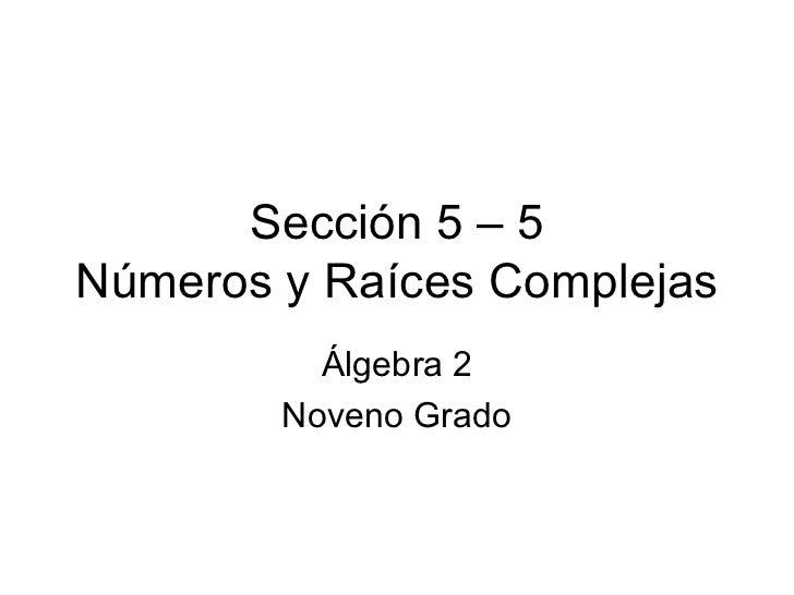 Sección 5 – 5 Números y Raíces Complejas Álgebra 2 Noveno Grado