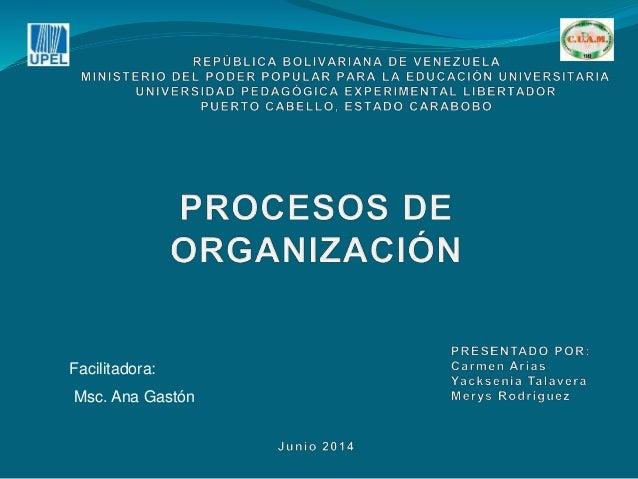 Facilitadora: Msc. Ana Gastón