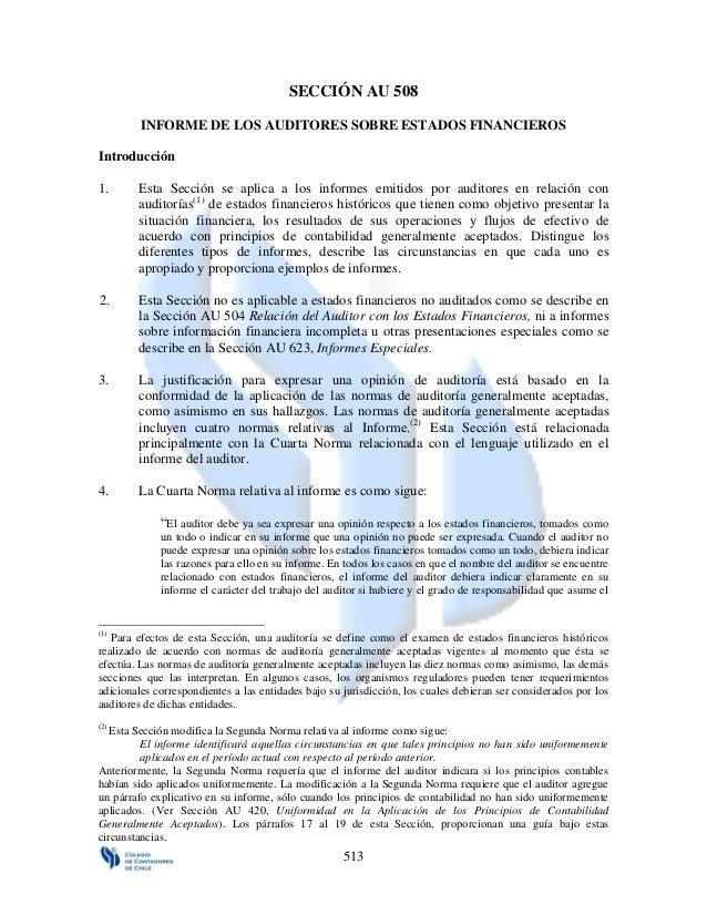 SECCIÓN AU 508         INFORME DE LOS AUDITORES SOBRE ESTADOS FINANCIEROSIntroducción1.      Esta Sección se aplica a los ...