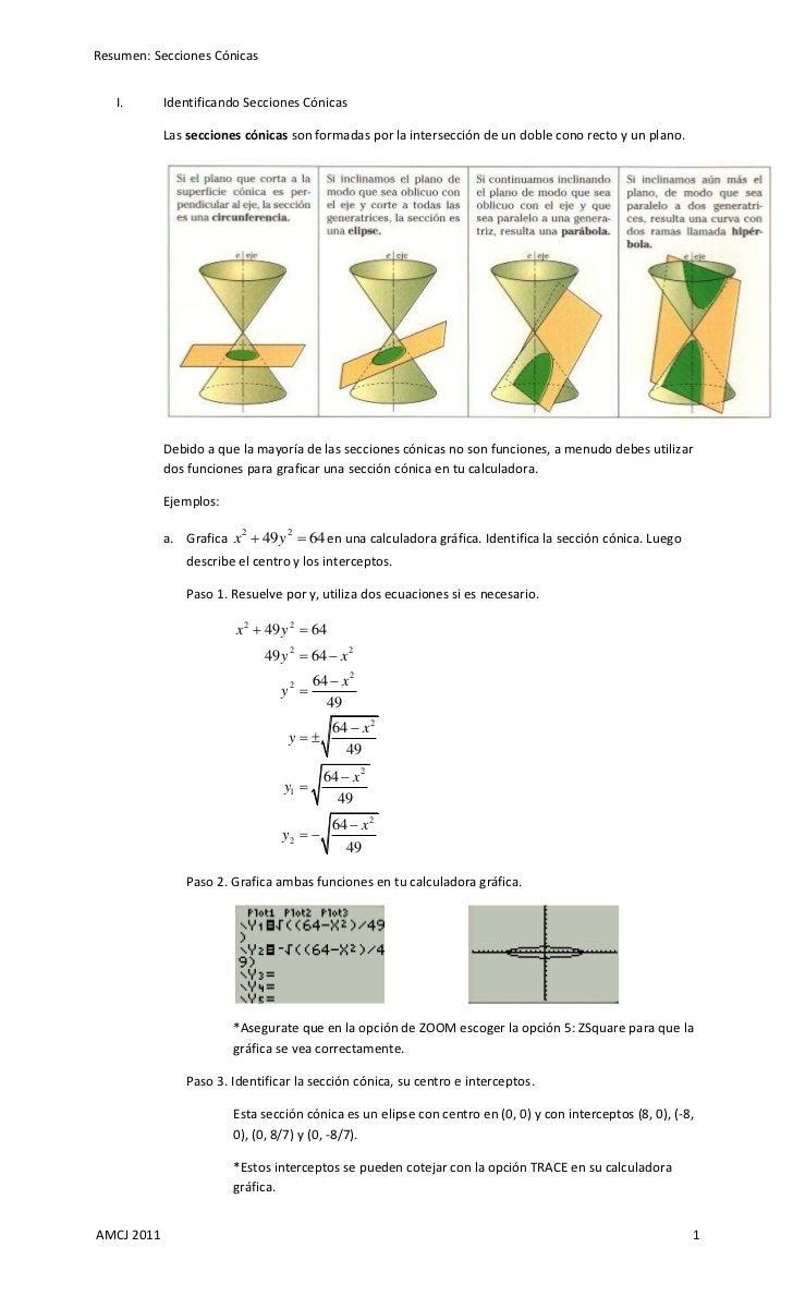 Resumen: Secciones Cónicas   I.       Identificando Secciones Cónicas            Las secciones cónicas son formadas por la...