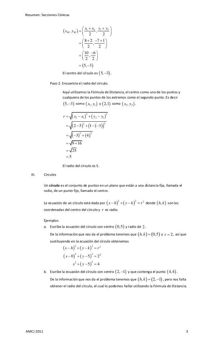 Resumen: Secciones Cónicas Slide 3