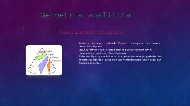 Geometría analítica Secciones cónicas Son las secciones que resultan de diferentes cortes que se somete a un a revolución ...