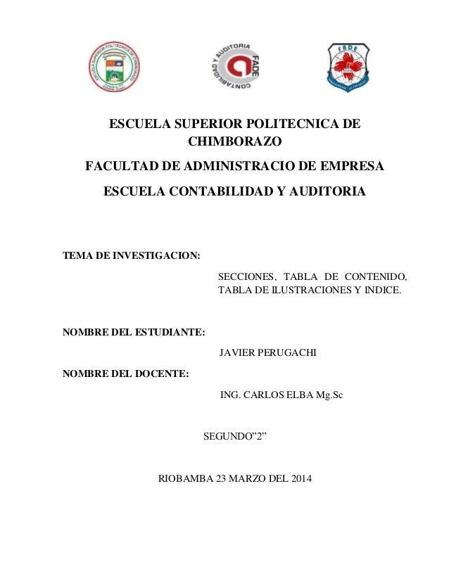 ESCUELA SUPERIOR POLITECNICA DE CHIMBORAZO FACULTAD DE ADMINISTRACIO DE EMPRESA ESCUELA CONTABILIDAD Y AUDITORIA TEMA DE I...