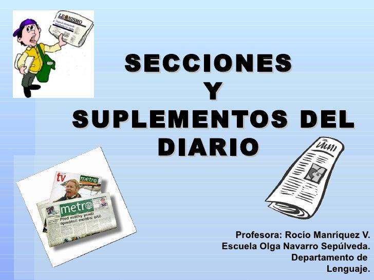 SECCIONES  Y  SUPLEMENTOS DEL DIARIO Profesora: Rocío Manríquez V. Escuela Olga Navarro Sepúlveda. Departamento de  Lengua...