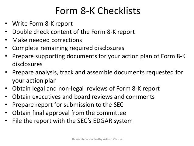 SEC compliance and disclosure, Form 8-K (sample)