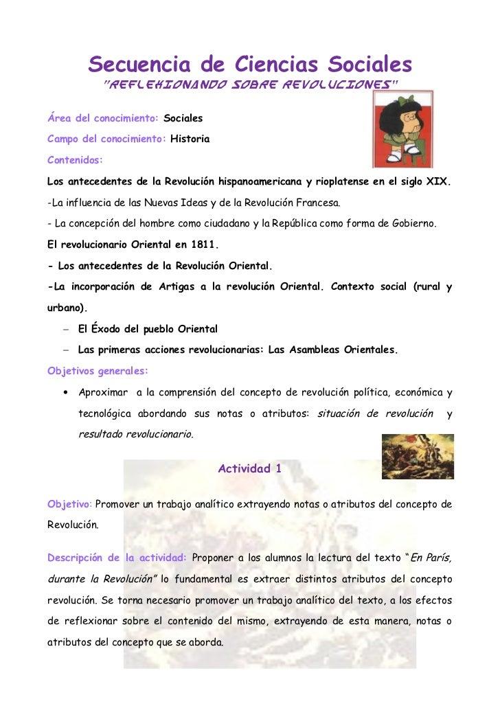 """Secuencia de Ciencias Sociales              """"Reflexionando sobre revoluciones""""Área del conocimiento: SocialesCampo del con..."""
