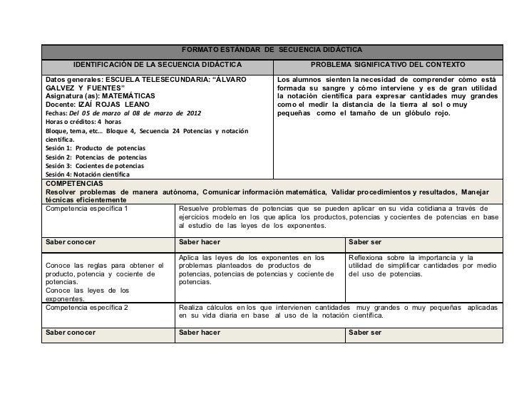 FORMATO ESTÁNDAR DE SECUENCIA DIDÁCTICA        IDENTIFICACIÓN DE LA SECUENCIA DIDÁCTICA                               PROB...